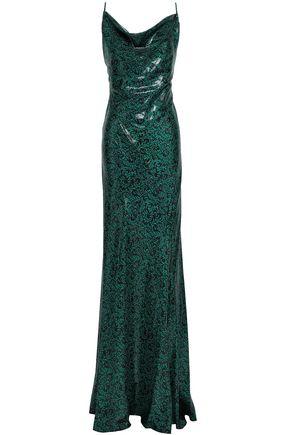 DIANE VON FURSTENBERG Open-back metallic printed silk-blend gown