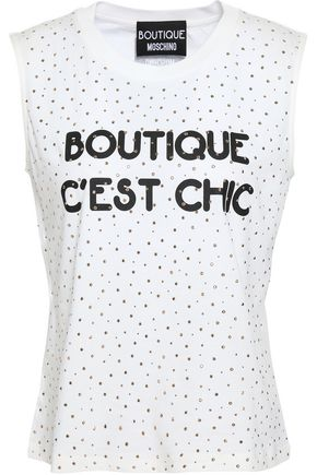 BOUTIQUE MOSCHINO Studded printed cotton-jersey tank