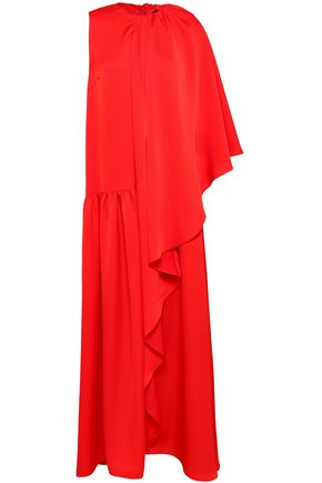 PAPER London Cape-effect draped satin-crepe gown