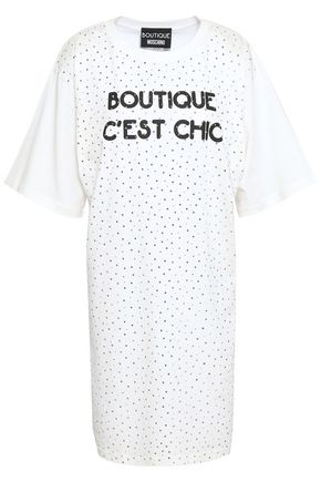 BOUTIQUE MOSCHINO Embellished printed cotton-jersey mini dress