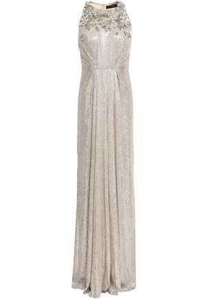 JENNY PACKHAM Embellished silk-georgette gown