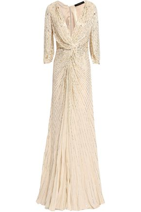 JENNY PACKHAM Twist-front embellished silk-georgette gown