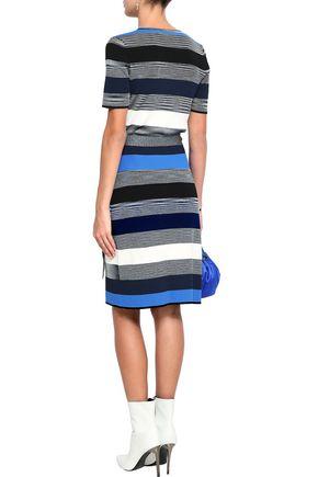 DIANE VON FURSTENBERG Striped ribbed-knit wrap dress