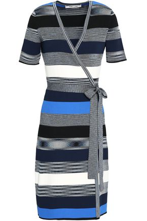 DIANE VON FURSTENBERG Striped ribbed-knit wrap dress