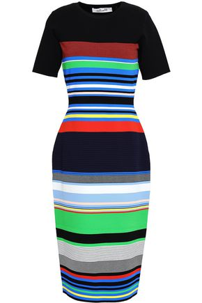 DIANE VON FURSTENBERG Striped stretch-knit dress