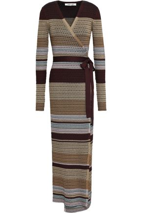 DIANE VON FURSTENBERG Metallic jacquard-knit maxi wrap dress