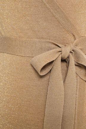 DIANE VON FURSTENBERG Metallic merino wool-blend maxi wrap dress