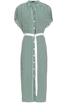 JOSEPH Belted striped silk midi shirt dress