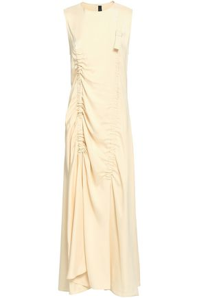 JOSEPH Ruched twill midi dress
