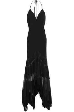 DIANE VON FURSTENBERG Open-back crepe and mesh-paneled gown