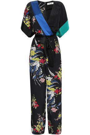 DIANE VON FURSTENBERG Wrap-effect floral-print silk crepe de chine jumpsuit