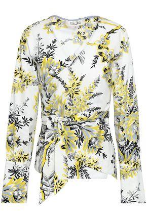 DIANE VON FURSTENBERG Printed cotton-blend twill wrap top