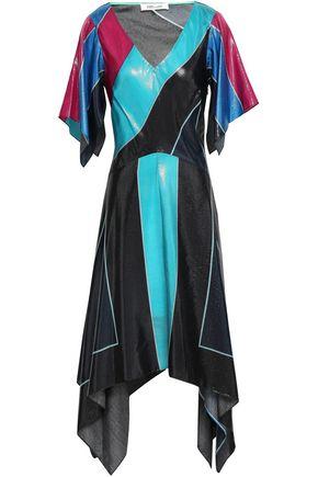 DIANE VON FURSTENBERG Asymmetric silk-blend lamé dress