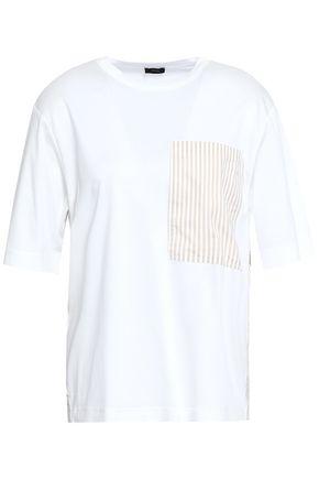 JOSEPH Paneled striped cotton-poplin and jersey T-shirt
