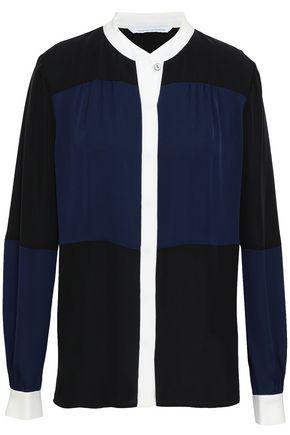 DIANE VON FURSTENBERG Color-block silk-crepe blouse