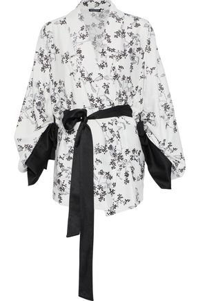ANN DEMEULEMEESTER Satin-trimmed floral-print crepe kimono
