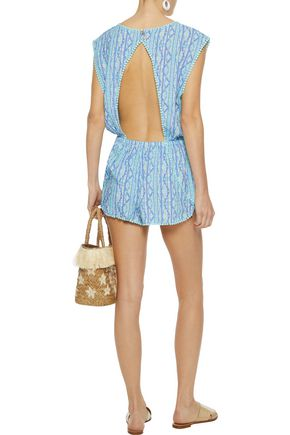 TART COLLECTIONS Carla open-back printed gauze playsuit