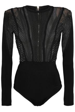 BALMAIN Open-knit stretch-ponte bodysuit