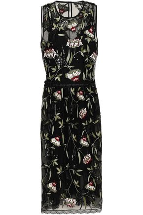 MARKUS LUPFER Carmen embellished tulle midi dress