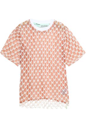 OFF-WHITE™ Cotton-lace and organza T-shirt
