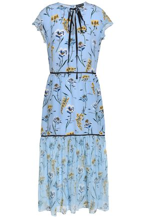 MARKUS LUPFER Floral-print silk crepe de chine midi dress