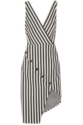 ALTUZARRA Marceau asymmetric striped cotton-blend dress