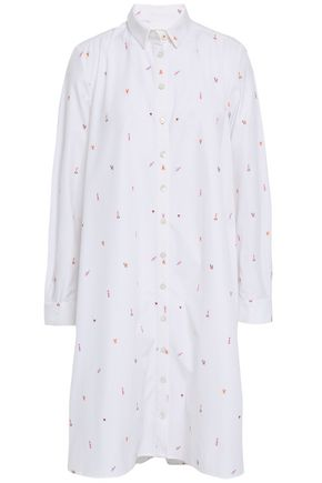 CHINTI AND PARKER Embroidered cotton-poplin shirt dress