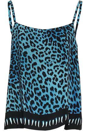 ROCKINS Leopard-print silk crepe de chine camisole