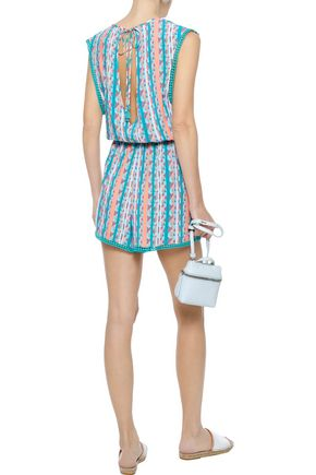 TART COLLECTIONS Camila cutout lace-trimmed printed voile playsuit