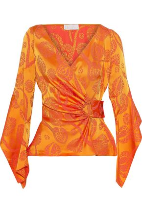 PETER PILOTTO Satin-jacquard wrap blouse