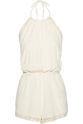 TART COLLECTIONS Naya crochet-trimmed cotton-gauze halterneck playsuit