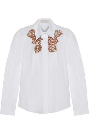 ANCIENT GREEK SANDALS x PETER PILOTTO Sequin-embellished cotton-poplin shirt