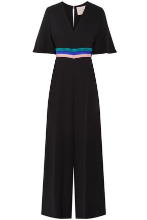 ROKSANDA Cape-effect satin-trimmed silk-crepe jumpsuit