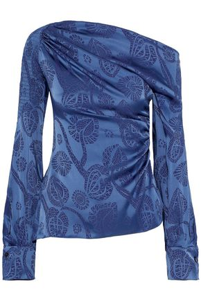 PETER PILOTTO One-shoulder smocked satin-jacquard blouse