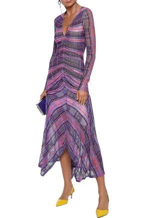 PETER PILOTTO Asymmetric ruched crochet-knit midi dress
