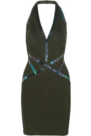 HERVÉ LÉGER Kaitlyn sequin-embellished bandage halterneck mini dress
