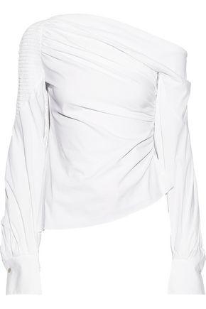 ANCIENT GREEK SANDALS x PETER PILOTTO One-shoulder smocked cotton-blend poplin blouse