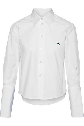 ALEXACHUNG Embroidered cotton-poplin shirt
