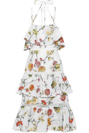 PRABAL GURUNG Tiered matelassé floral-jacquard midi dress