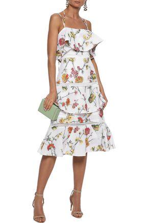 PRABAL GURUNG Tiered matelassé floral-jacquard midi dress