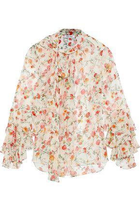 ec0e8b324eb108 PRABAL GURUNG Ruffle-trimmed floral-print silk-chiffon blouse ...