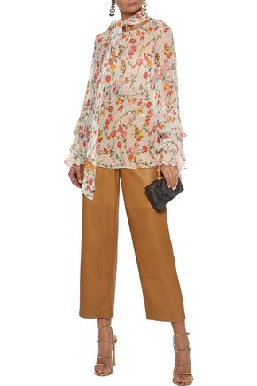 PRABAL GURUNG Ruffle-trimmed floral-print silk-chiffon blouse
