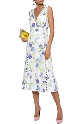 PRABAL GURUNG Floral-print broderie anglaise cotton midi dress