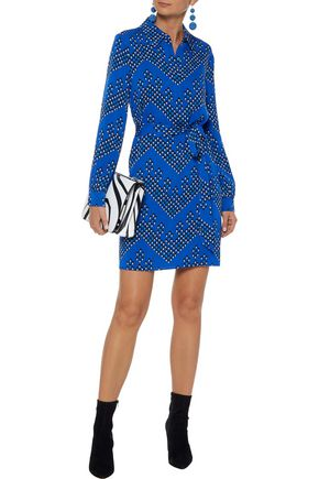 caaf77cbb5201 DIANE VON FURSTENBERG Pussy-bow printed silk-blend mini dress