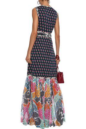 DIANE VON FURSTENBERG Amabelle faux snake-effect leather-trimmed printed stretch-silk maxi dress