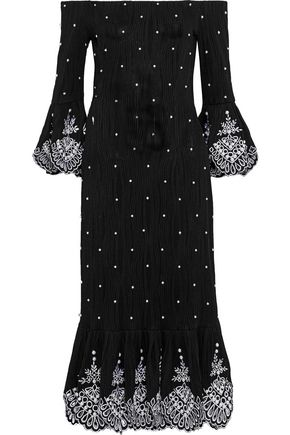 PRABAL GURUNG Faux pearl-embellished broderie anglaise-trimmed ribbed-knit dress