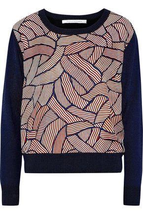 DIANE VON FURSTENBERG Orla printed satin twill-paneled knitted sweater
