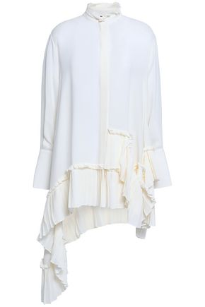ALEXANDER MCQUEEN Draped pleated silk crepe de chine top