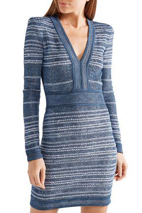 BALMAIN Jacquard-knit mini dress