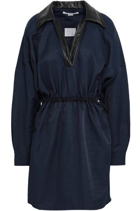 STELLA McCARTNEY Faux leather-trimmed gabardine mini dress